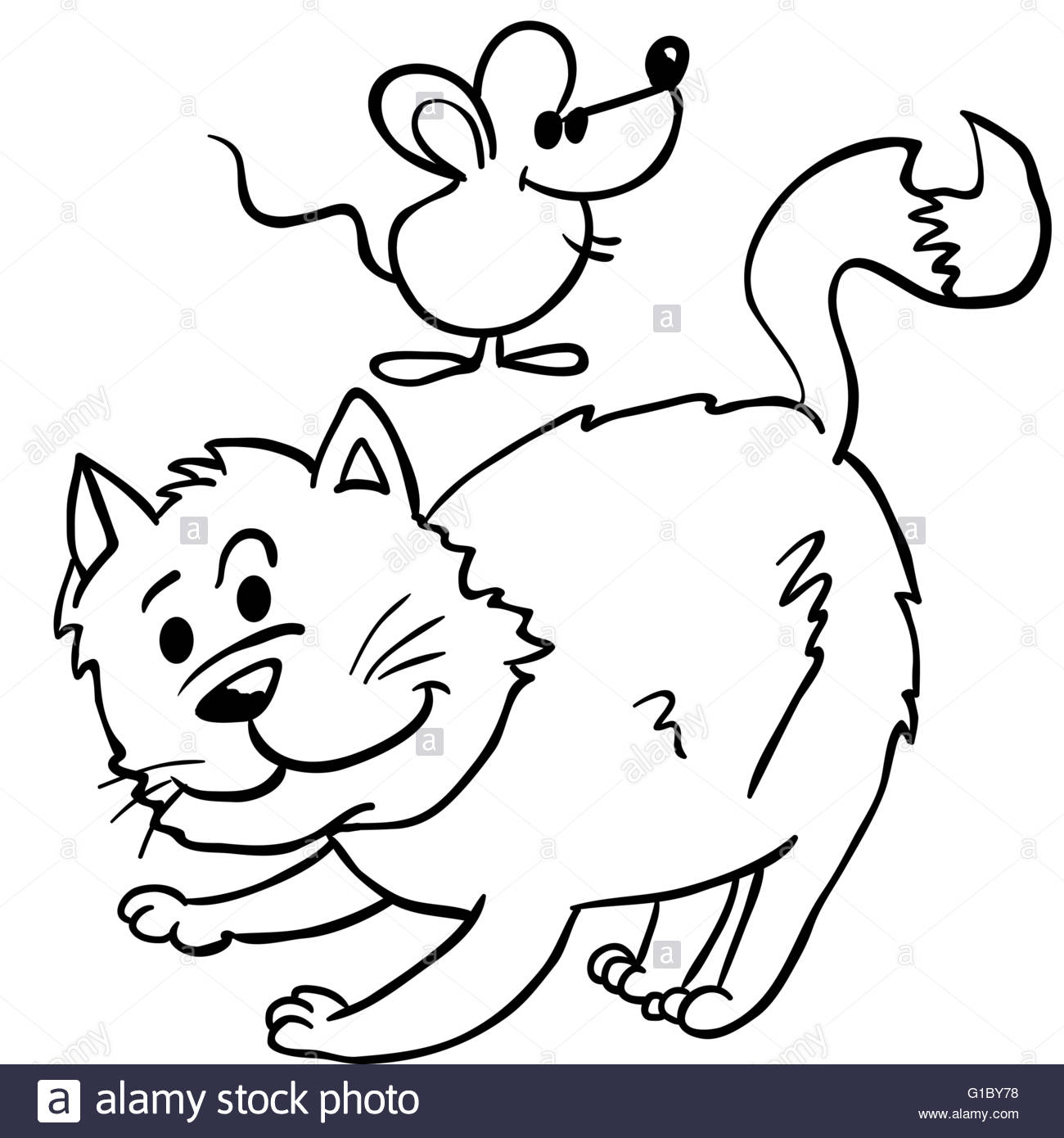 1300x1390 Simple Black And White Cat And Mouse Cartoon Illustration Stock