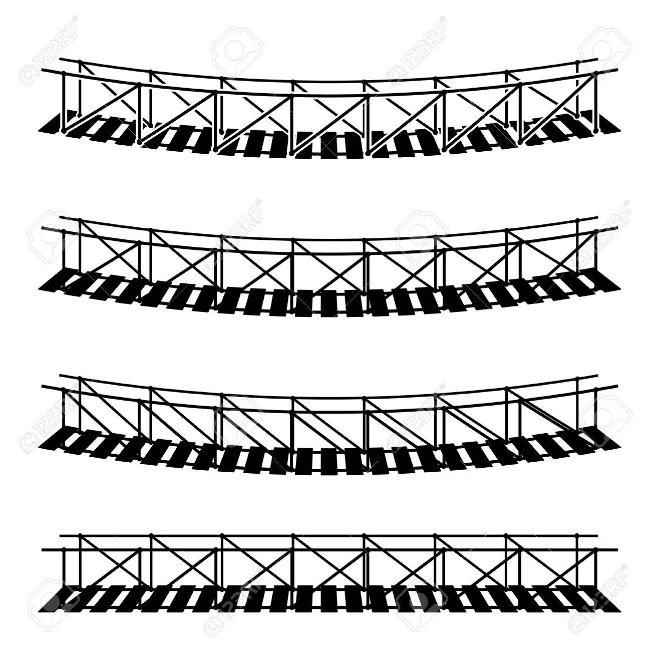 1300x1300 Vector Simple Rope Suspension Hanging Bridge Black Symbol Royalty