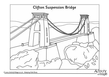 460x325 Clifton Suspension Bridge Colouring Page