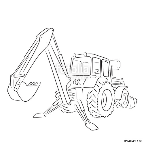 500x500 Outline Of Bulldozer, Vector Illustration Stock Image And Royalty
