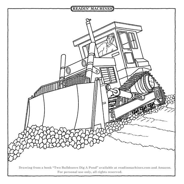 612x612 Bulldozer Coloring Page