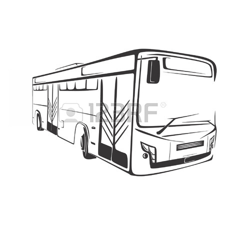 450x450 American Typical Country Passenger Bus. Black And White Silhouette
