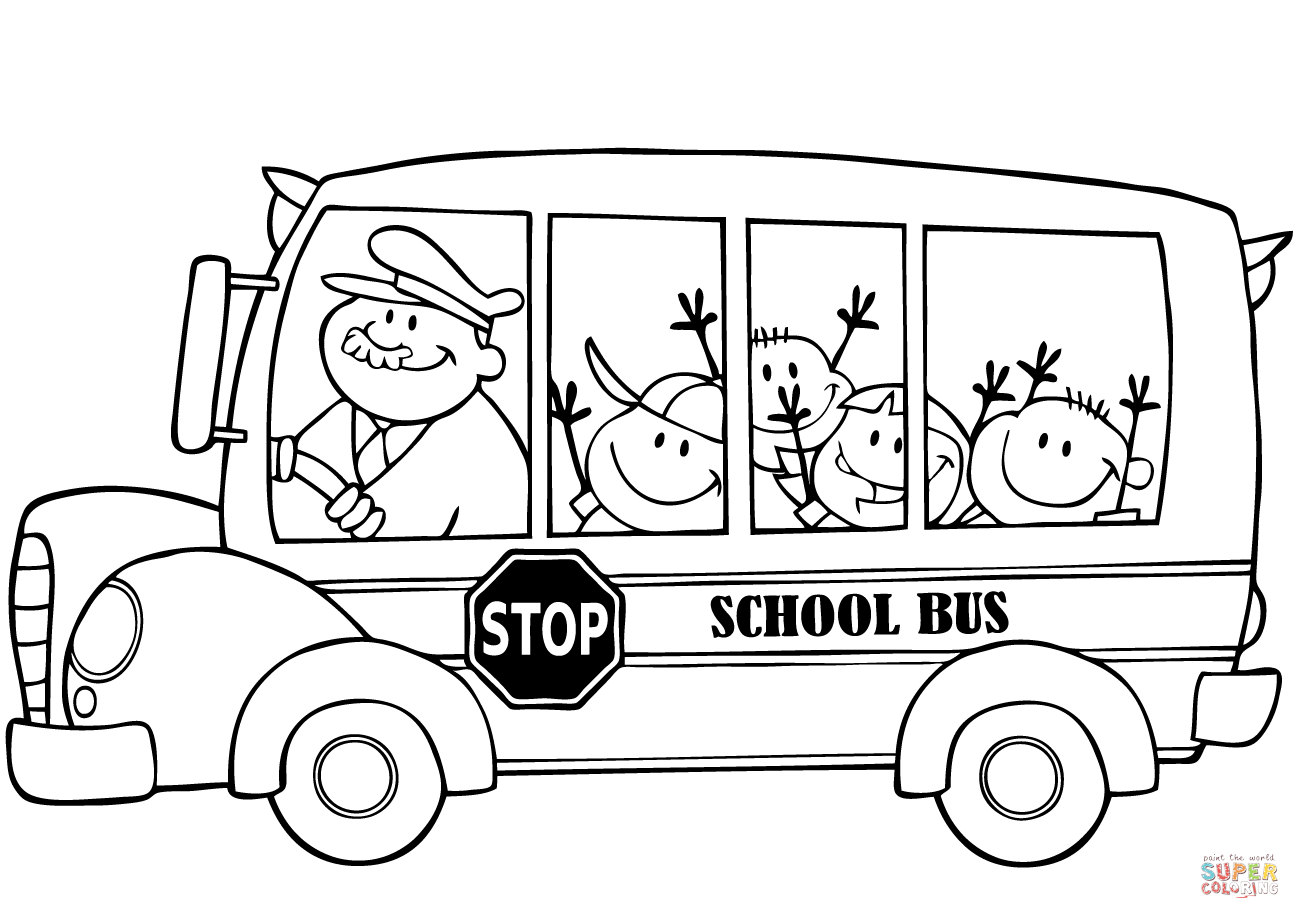 1300x919 School Bus With Happy Children Coloring Page Free Printable
