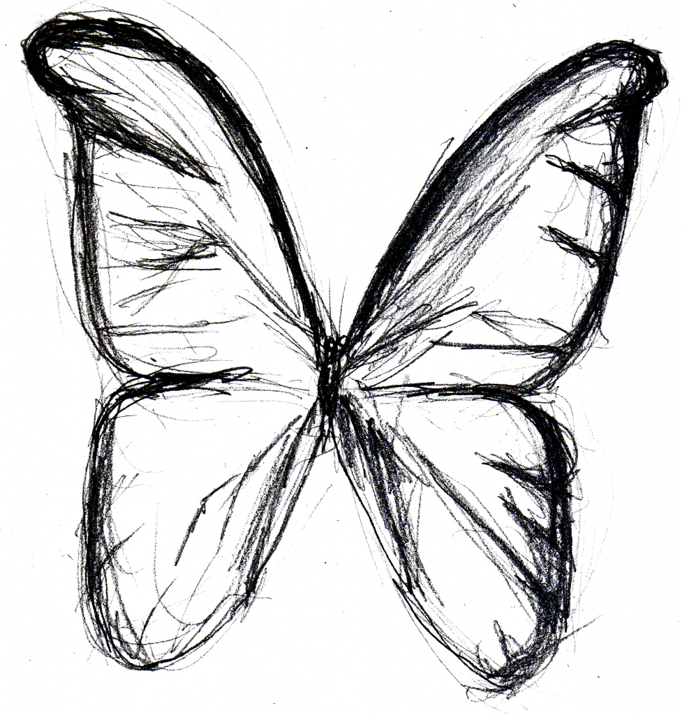 977x1024 Butterfly Sketch Drawings Butterfly Drawing Simple Butterfly