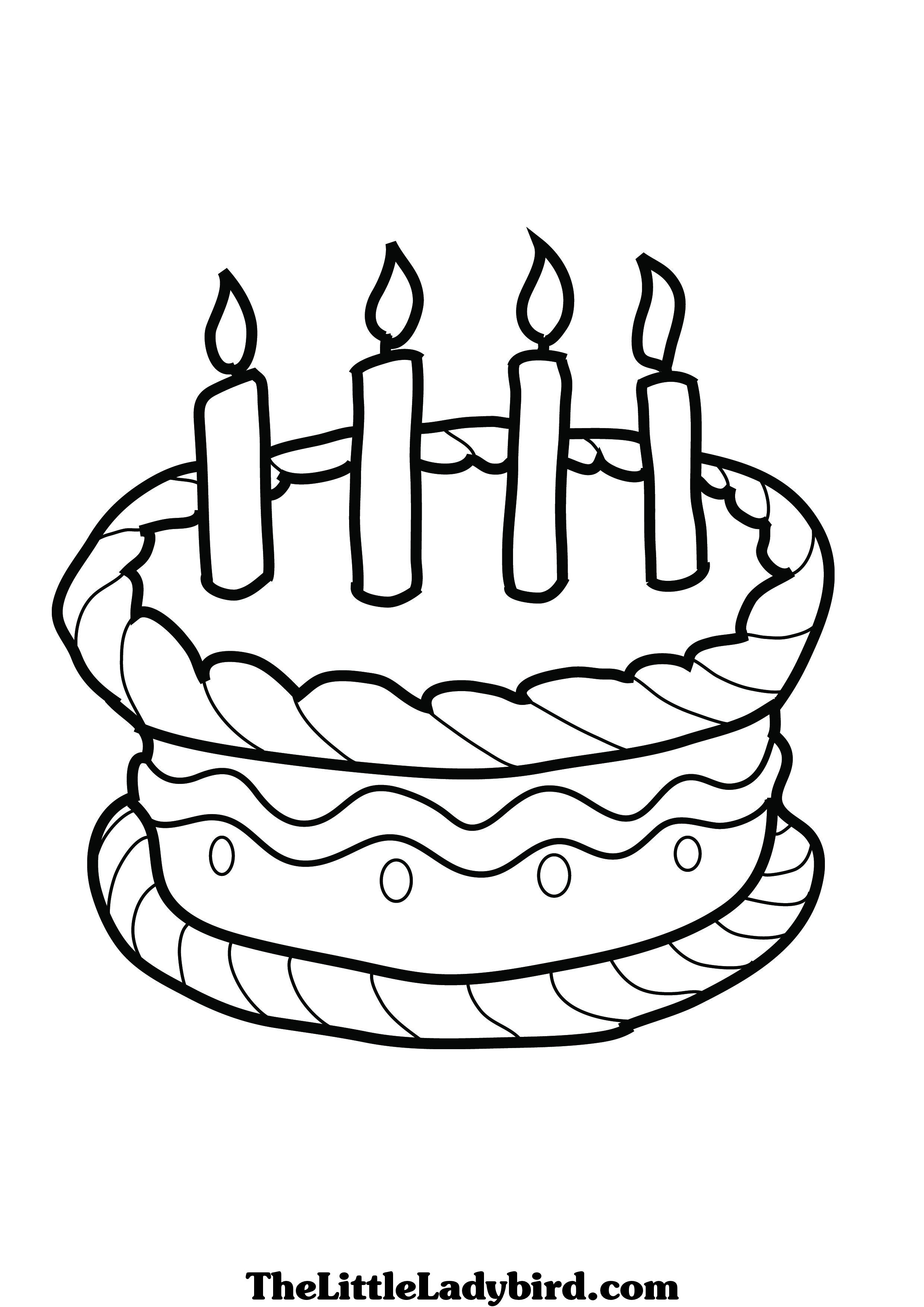 2480x3508 Excellent Birthday Cake Coloring Page Coloring Pages Cakes