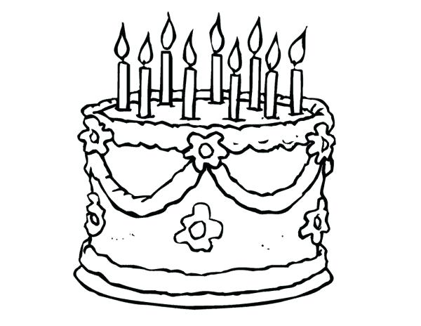 600x464 Simple Birthday Cake Coloring Pages Printable Of With Candles
