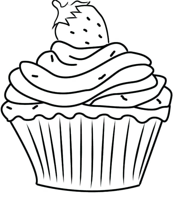 580x669 Simple Cupcake Coloring Pages Free Download