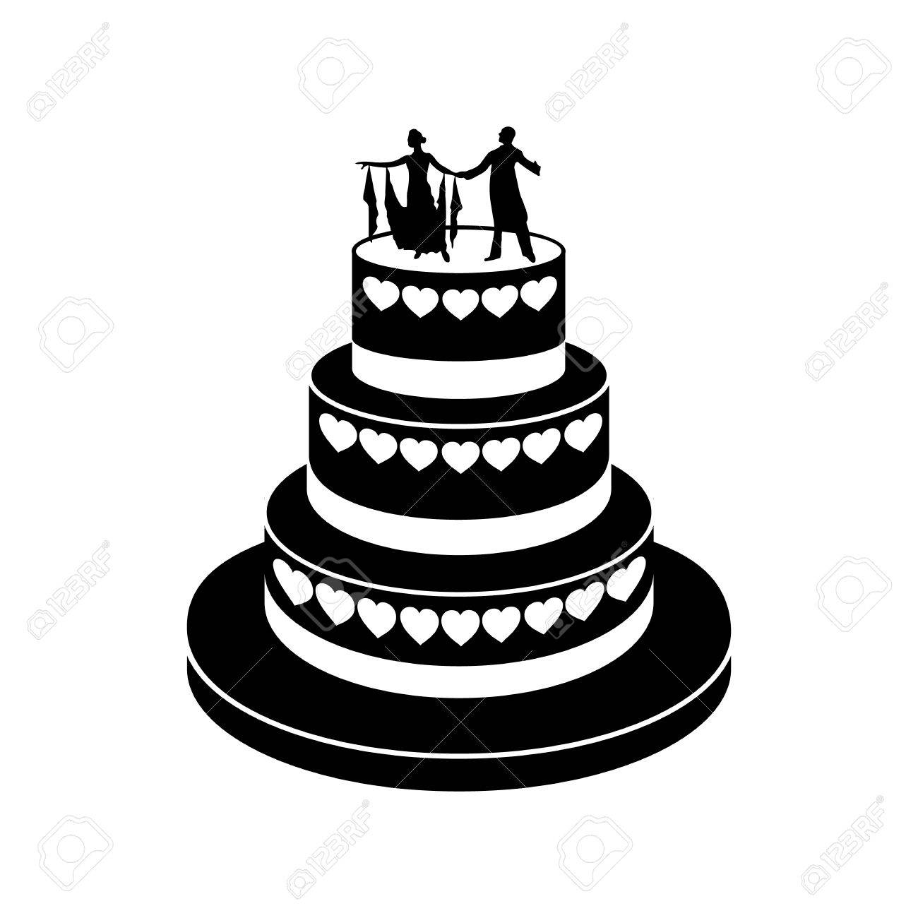 1300x1300 Wedding Cake Simple Icon Isolated On A White Background Royalty