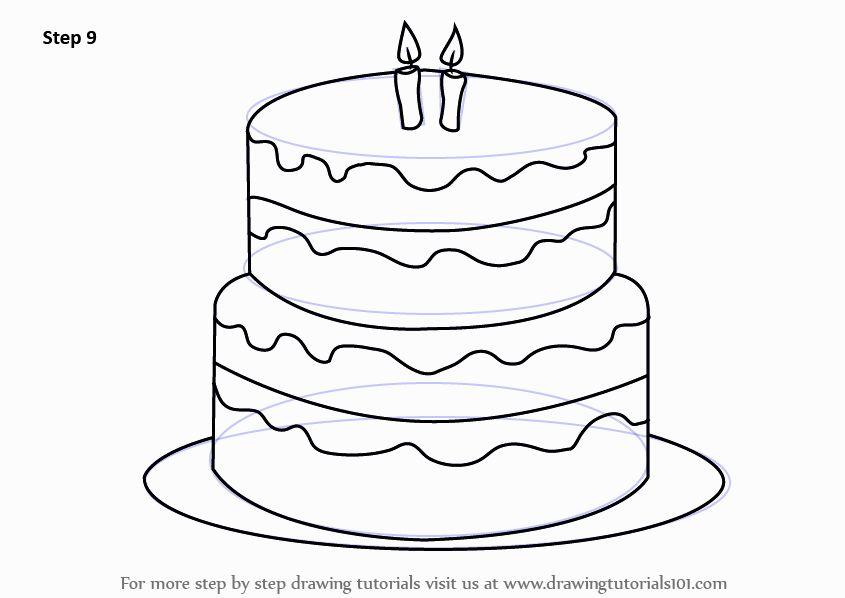 845x598 How To Draw A Birthday Cake 3 Cake Birthday