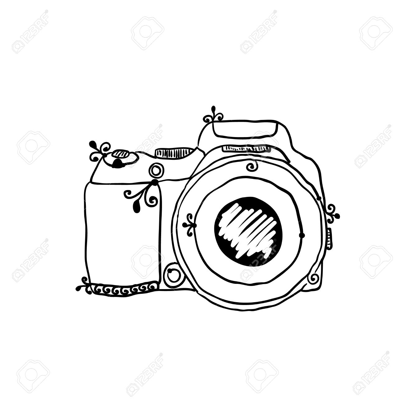 1299x1300 The Sketch Of A Photo Camera Drawn By Hand On A White Background