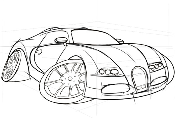 600x419 How To Draw, Ink And Colour A Cartoon Car In Adobe Photoshop