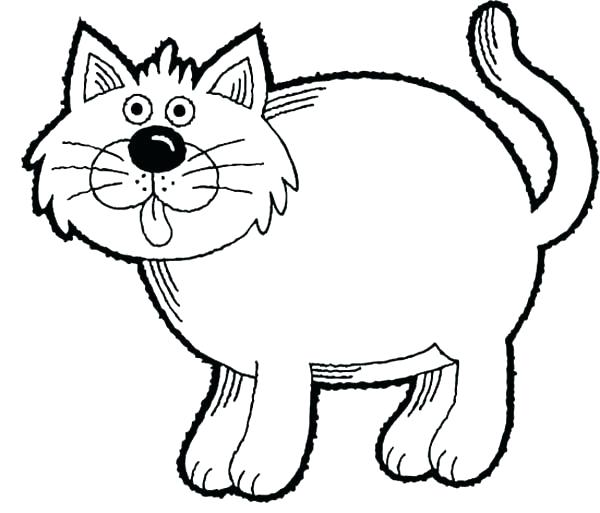 600x513 Luxury Cat Coloring Pages For Kids Print Kitty A Simple Drawing Of