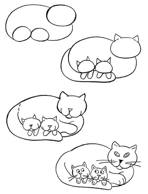 581x760 Mom Cat Draw Simple Steps Mom Cat, Cat And Draw
