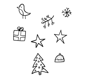 300x277 Simple Christmas Drawings Merry Christmas And Happy New Year 2018