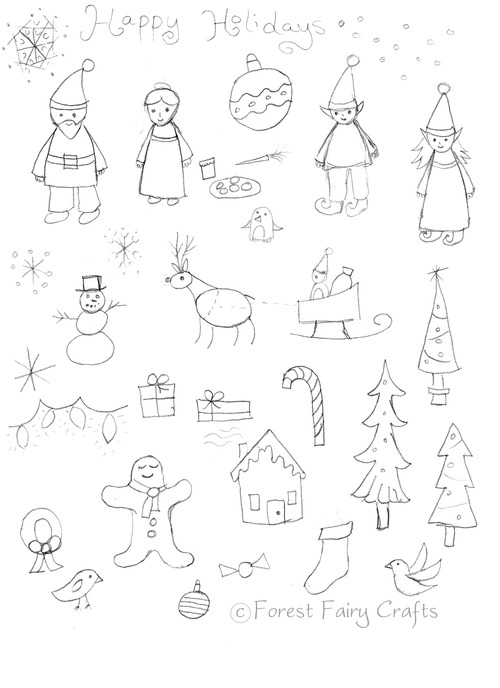 500x688 Christmas Sketches Forest Fairy Crafts