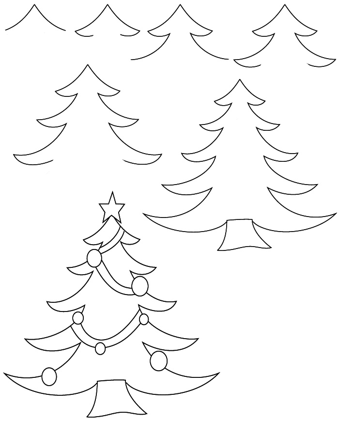 700x900 Drawing Christmas Tree Step By Step