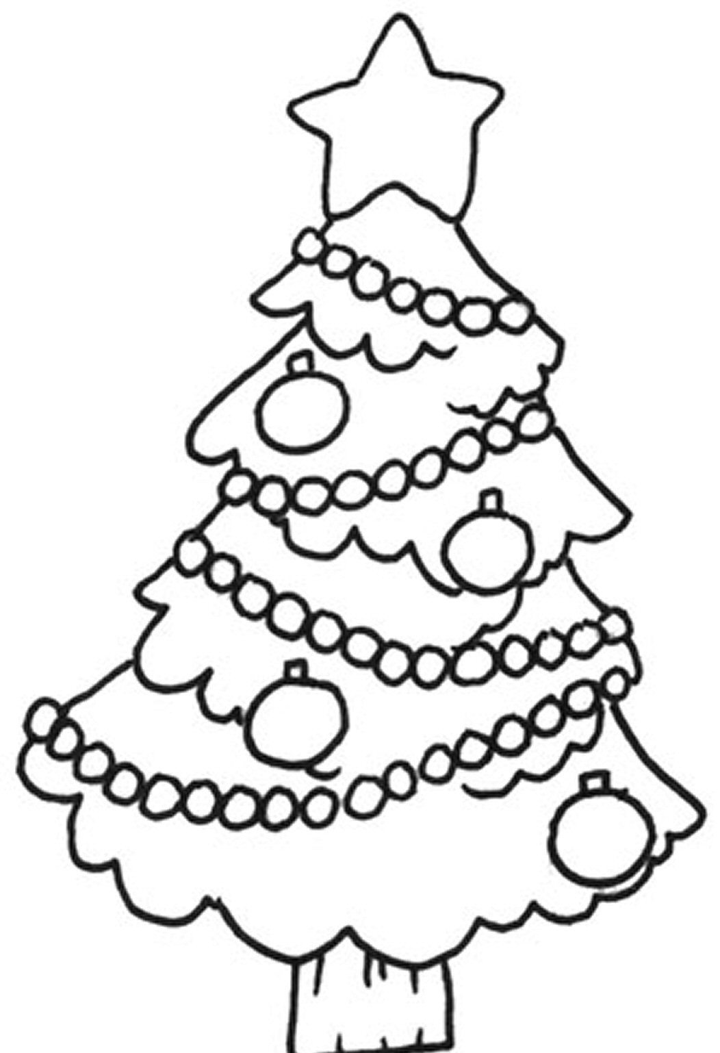 1052x1538 easy christmas tree coloring pages for children