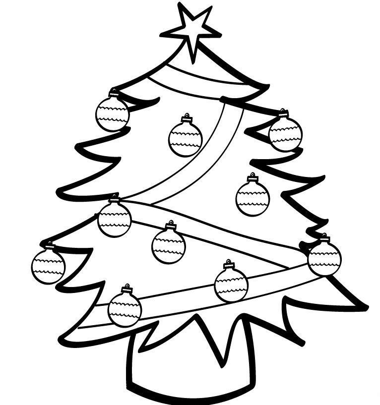 766x817 Simple Christmas Tree Coloring Pages Christmas Coloring Pages