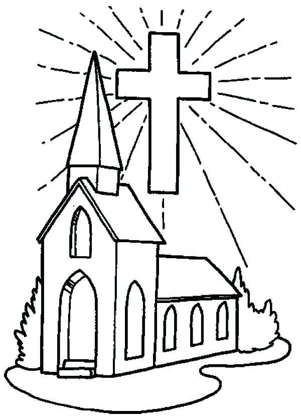 600x836 Fre Simple Church Coloring Pages