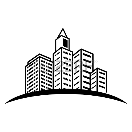 450x450 City Building Icon Image Simple Black Line Vector Illustration