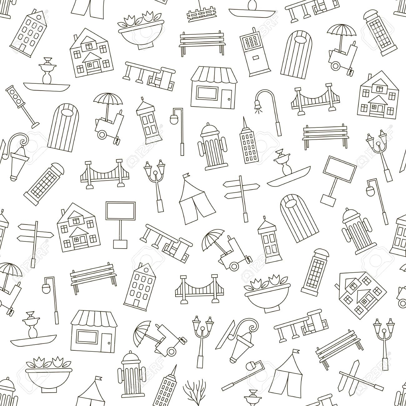 1300x1300 City Elements Icons Simple Style Royalty Free Cliparts, Vectors