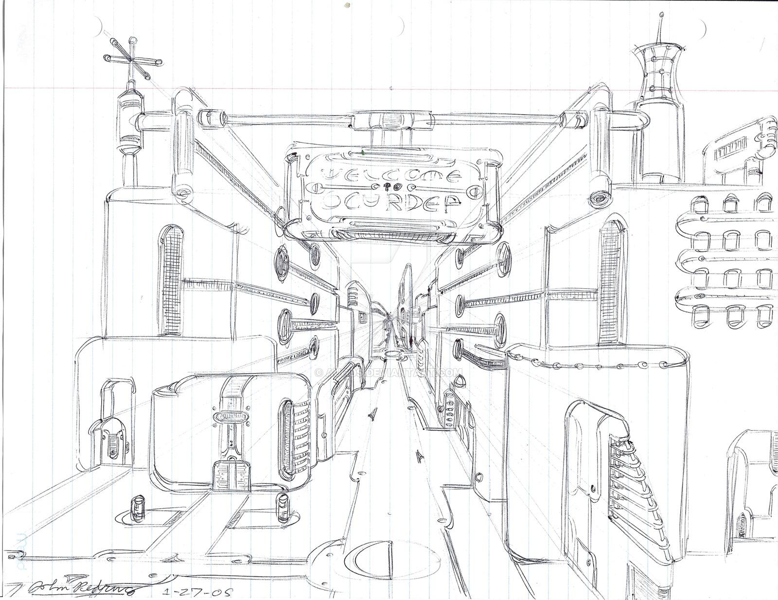1600x1235 Futuristic Cityscape Doodle 1 By Augos