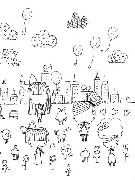 450x600 Littlegirlsinthecity 3 Cute Illustrations Doodles