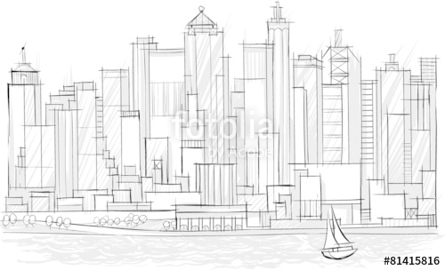 500x304 Architecture Sketch, City Landscape Stock Image And Royalty Free
