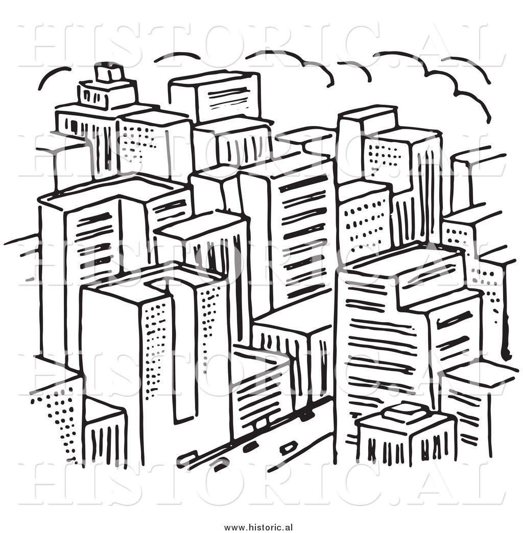 1024x1044 Black And White City Drawing