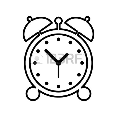 450x450 Alarm Clock Icon. Clock Silhouette. Simple Icon. Flat Design