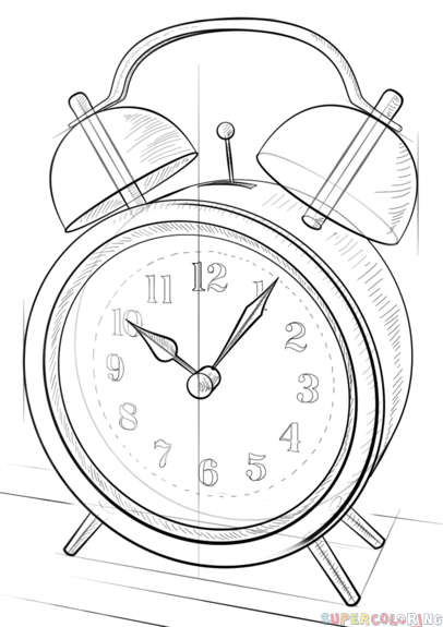 406x575 How To Draw An Alarm Clock Step By Step. Drawing Tutorials