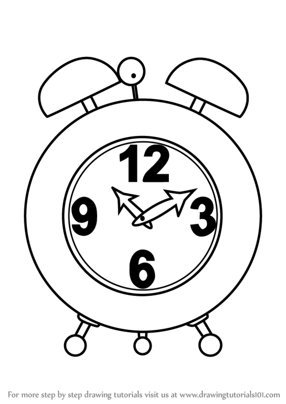 566x800 Learn How To Draw An Alarm Clock (Everyday Objects) Step By Step
