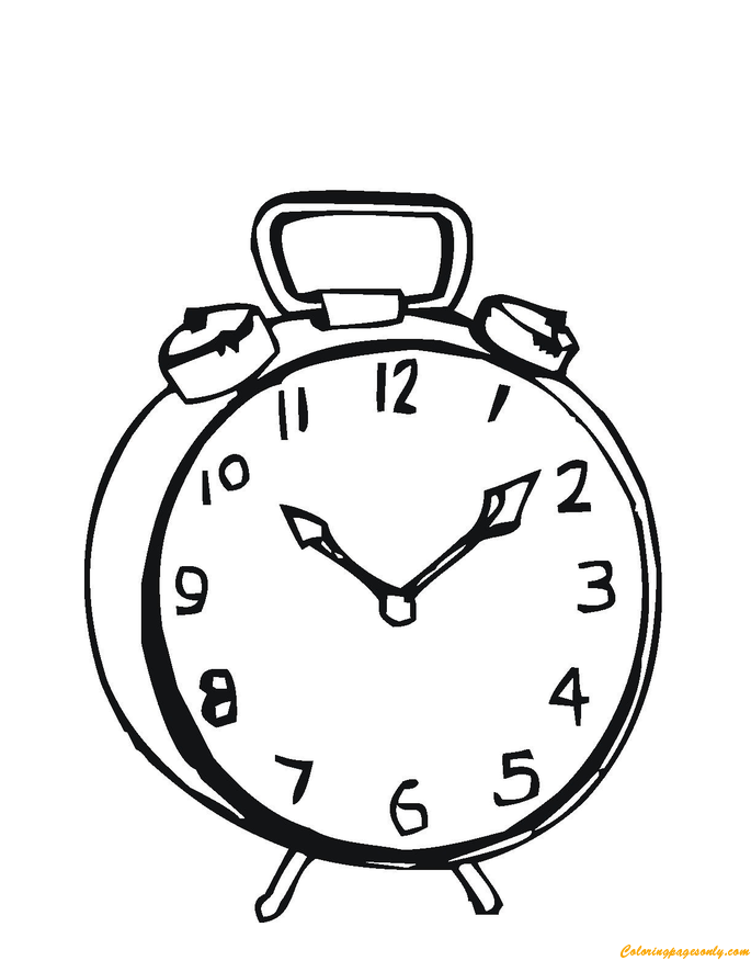 685x886 Simple Alarm Clock Coloring Page