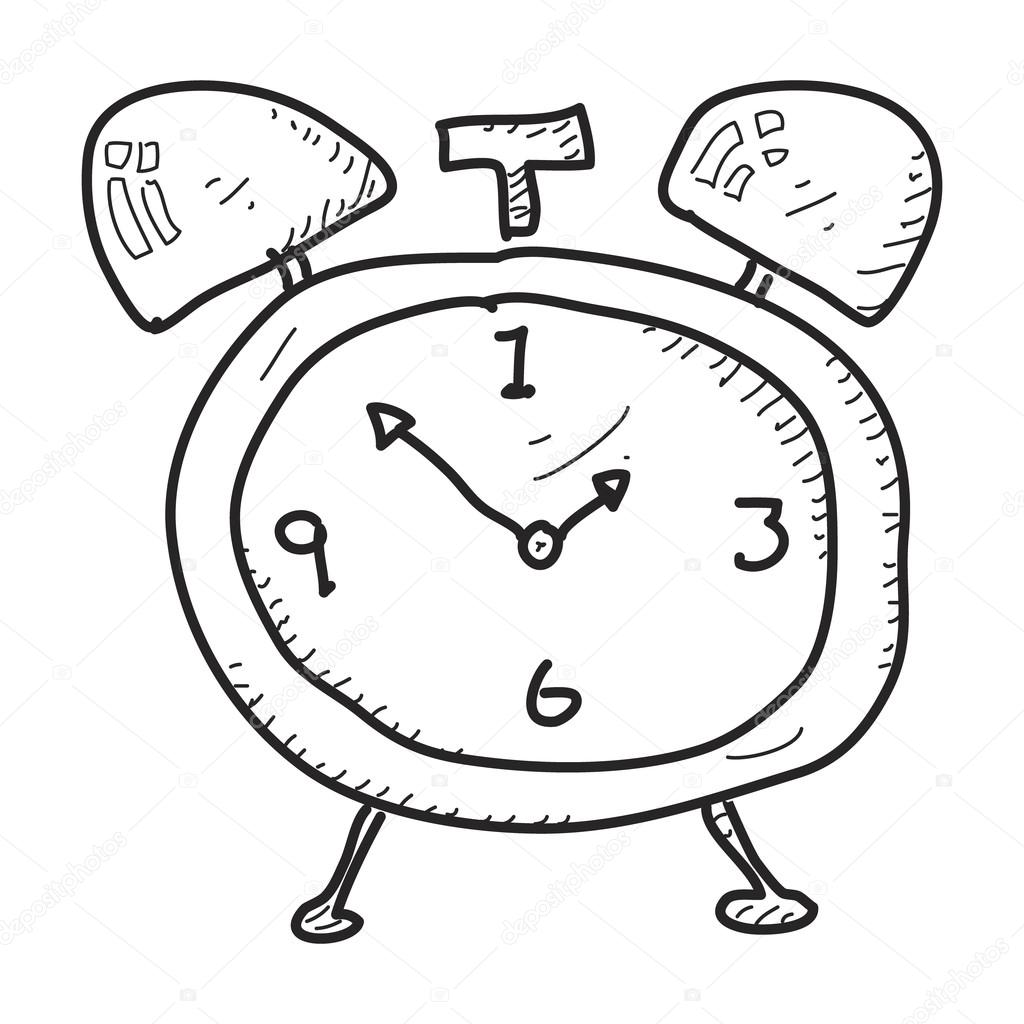 1024x1024 Simple Doodle Of An Alarm Clock Stock Vector Chrishall