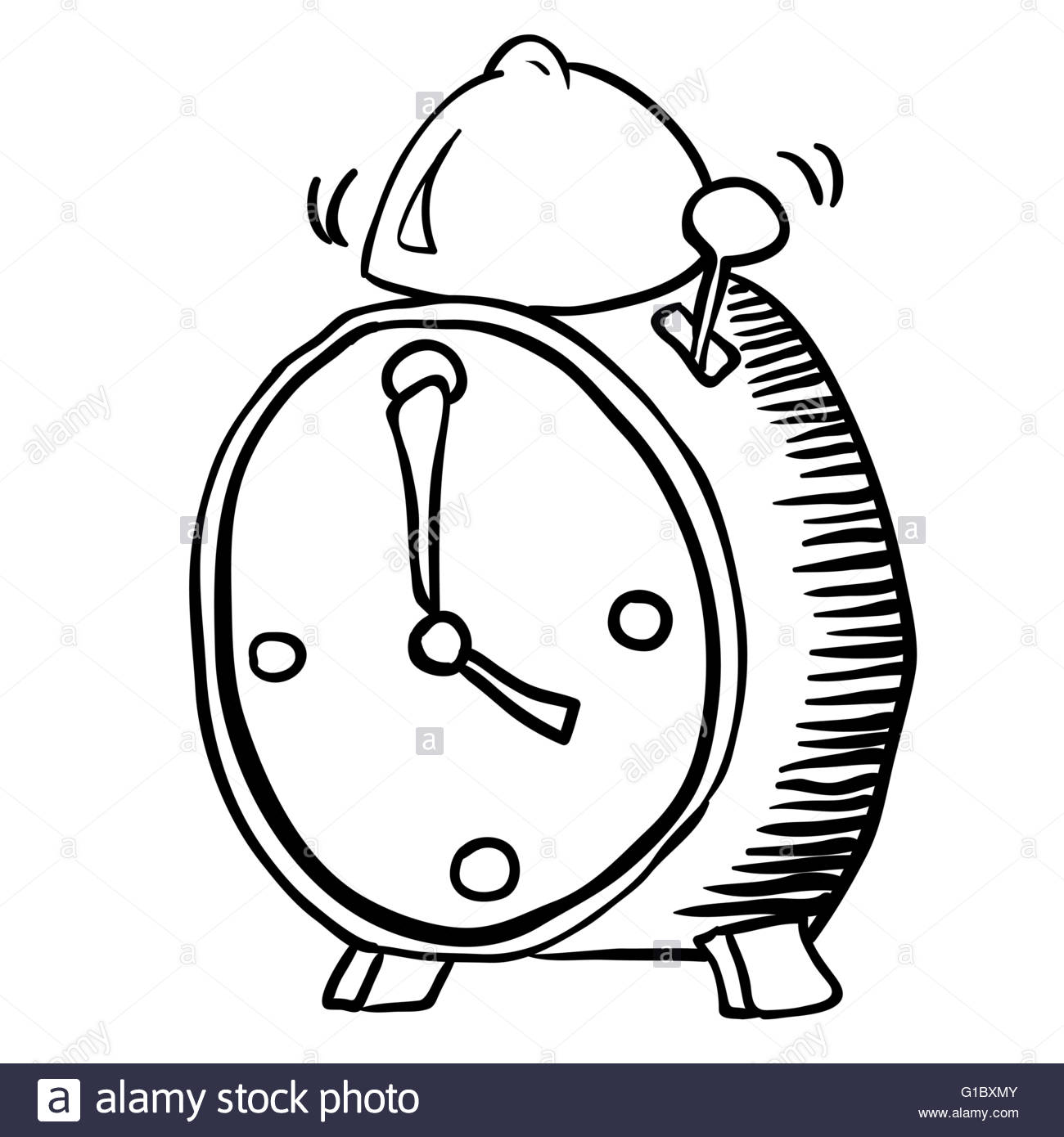 1300x1390 Simple Black And White Alarm Clock Cartoon Stock Vector Art