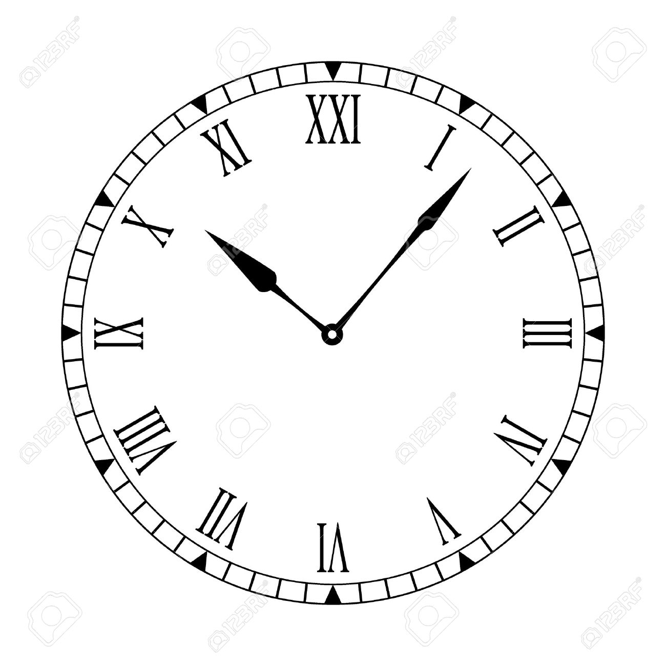 1300x1300 Black And White Clock Face With Easy To Read And Edit Hands Stock