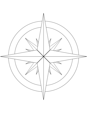 371x480 16 Point Compass Rose Coloring Page Free Printable Coloring Pages