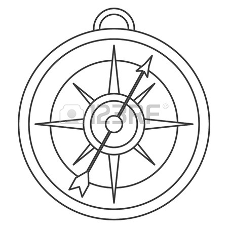 450x450 Simple Black Line Compass Icon Vector Illustration Royalty Free