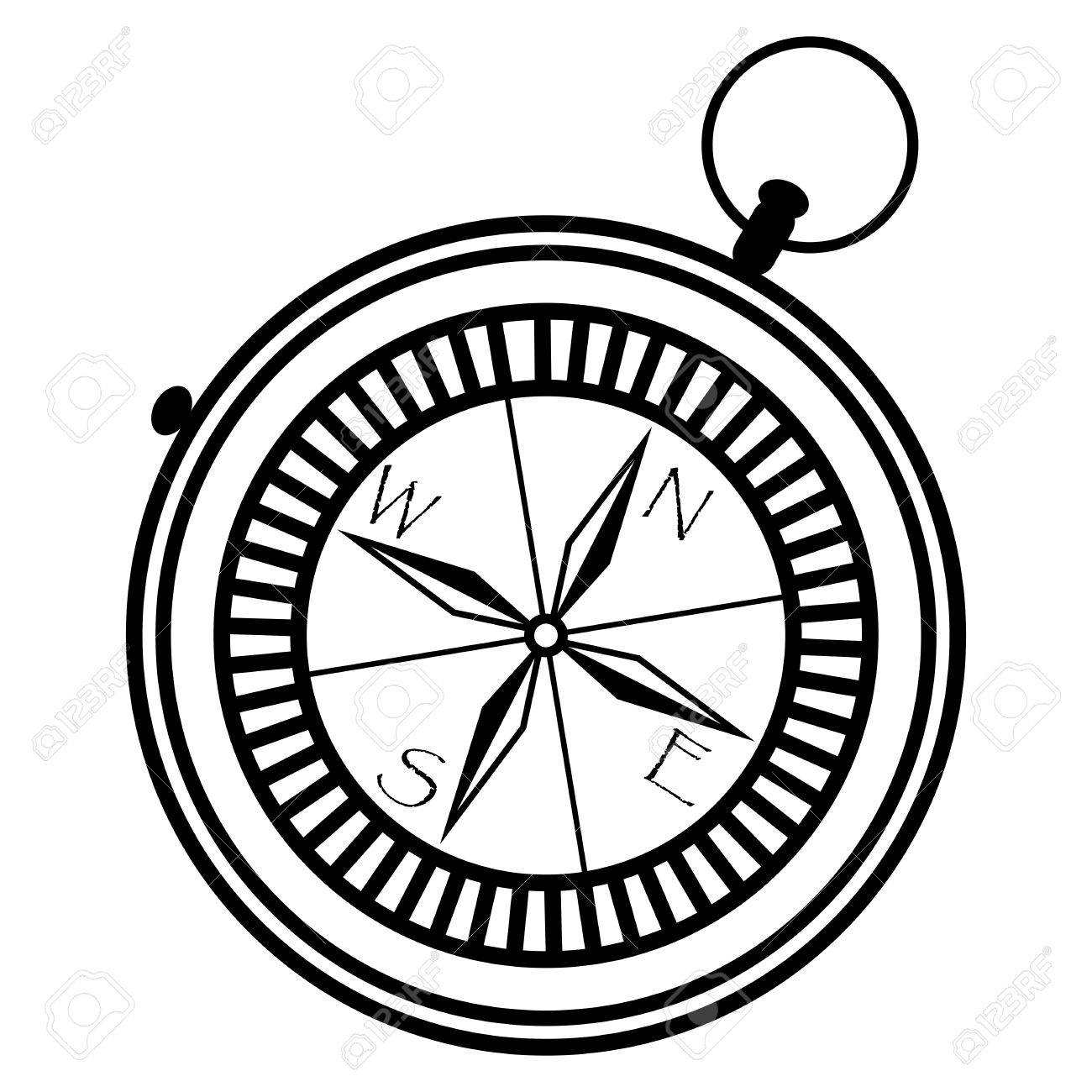 1300x1300 Simple Nautical Compass Showing Directions West, East, South