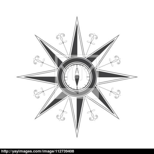 512x512 Simple Compass Rose (Wind Rose) In The Style Of Historical Maps