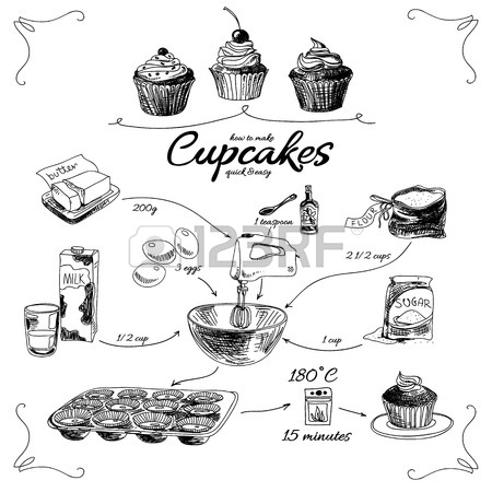 450x450 Simple Cupcake Recipe. Step By Step. Hand Drawn Vector
