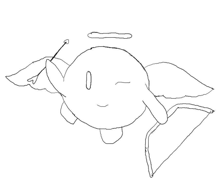 900x734 Cupid Kirby Line Art By 2010sakura Chan2010