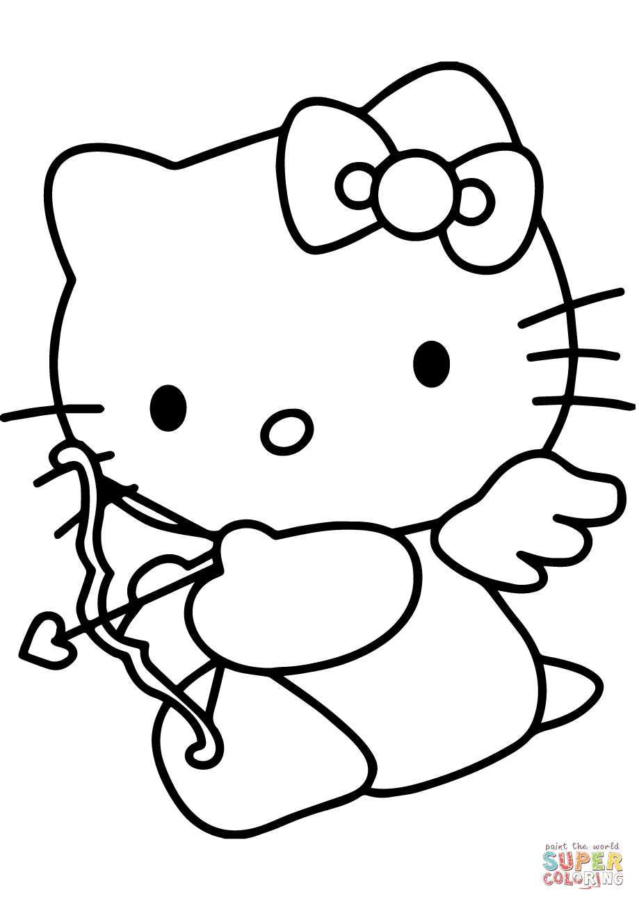 919x1300 Hello Kitty Valentine's Day Cupid Coloring Page Free Printable