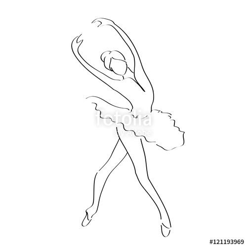 500x500 Abstract Line Art Of Ballet Dancer Ballerina Movement Pose