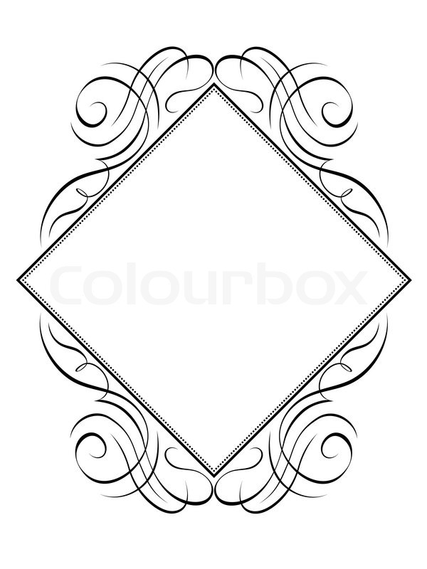 600x800 Vector Calligraphy Frame Rhomb Diamond Pattern Stock Vector