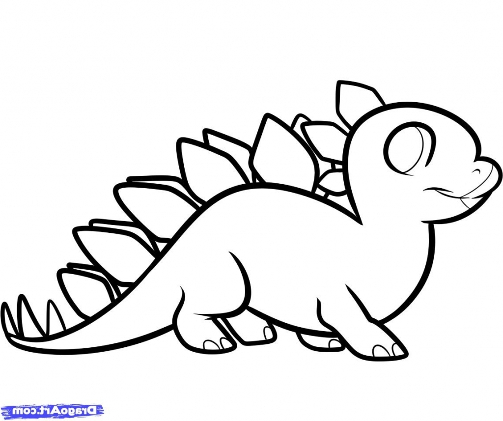 1024x857 Simple Dinosaur Drawing How To Draw A Stegosaurus For Kids Step