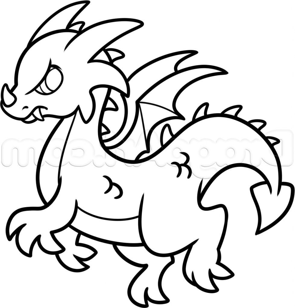 simple dragon outline