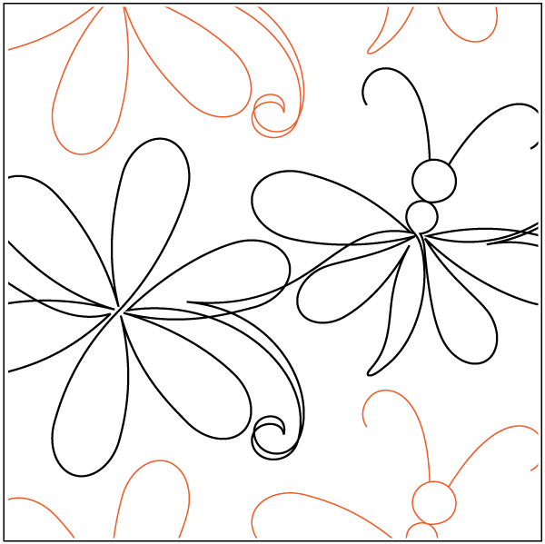 600x599 Simple Daisy And Dragonfly Whirls N Swirls Quilting Apqs Ontario