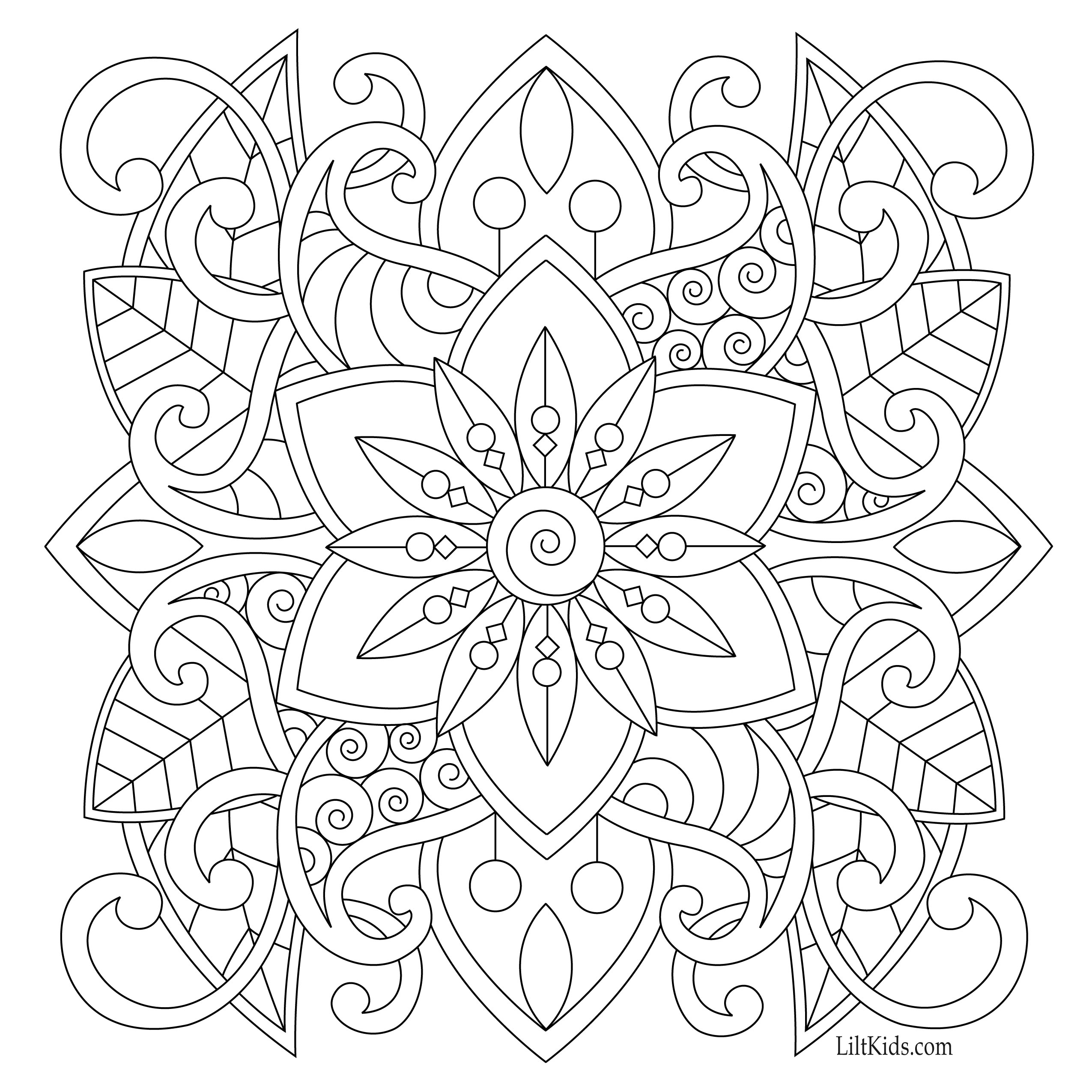 2550x2550 Free Easy Mandala For Beginners Adult Coloring Book Image From