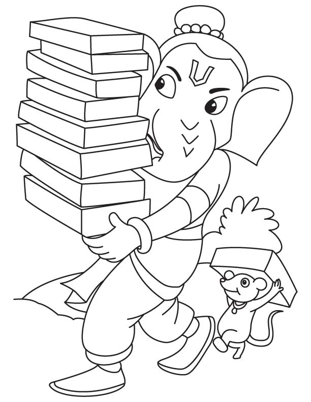 612x792 Lord Ganesha With Books Coloring Page Download Free Lord Ganesha
